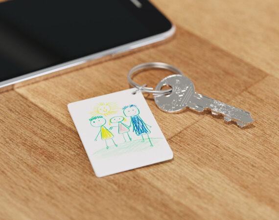 DIY Schlüsselanhänger Kinderzeichnung