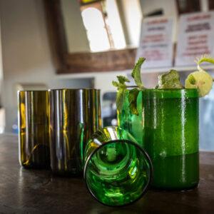 recycelte Trinkgläser